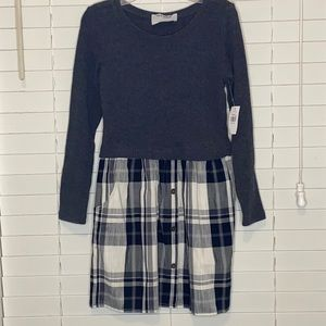 Old Navy Long Sleeve Ribbed  Button Plaid Dress